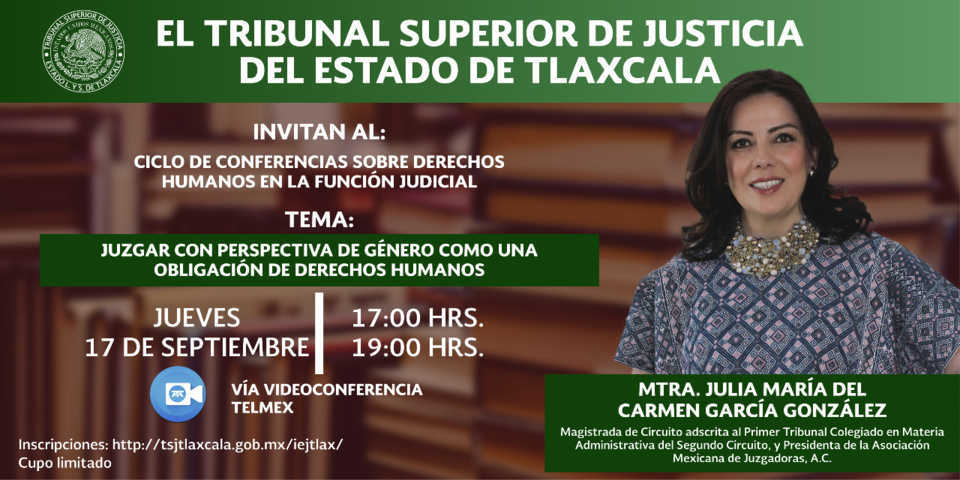 Hablará magistrada Carmen García sobre Perspectiva de Género en el TSJE