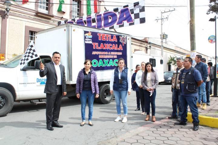 En Tetla de la Solidaridad se dio banderazo de salida de víveres a Oaxaca