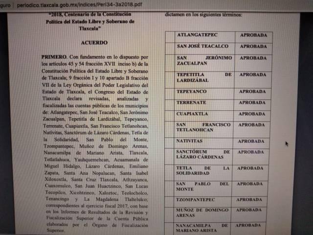 OFS aprobó cuenta publica 2017 de Tzompantepec