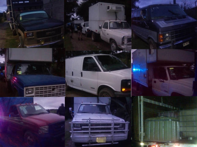 Aseguran ocho vehículos abandonados con contenedores vacíos en Nanacamilpa