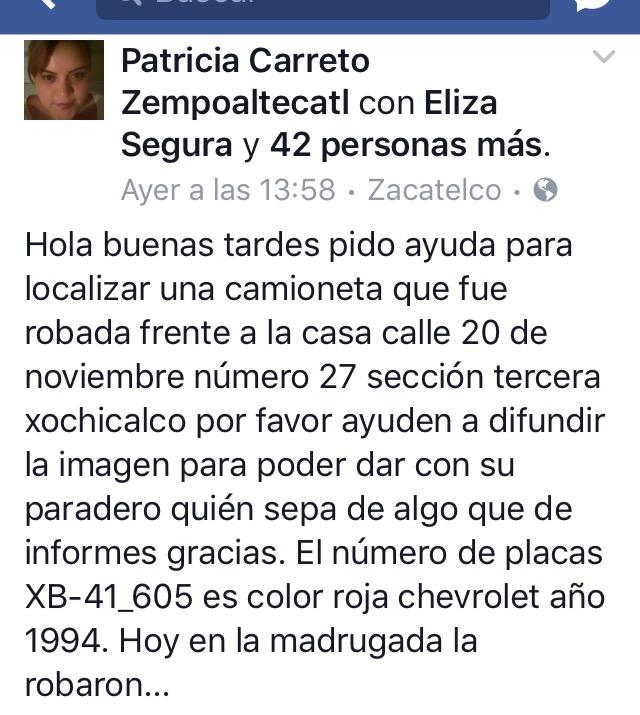 Piden ayuda para localizar camioneta que fue robada en Zacatelco