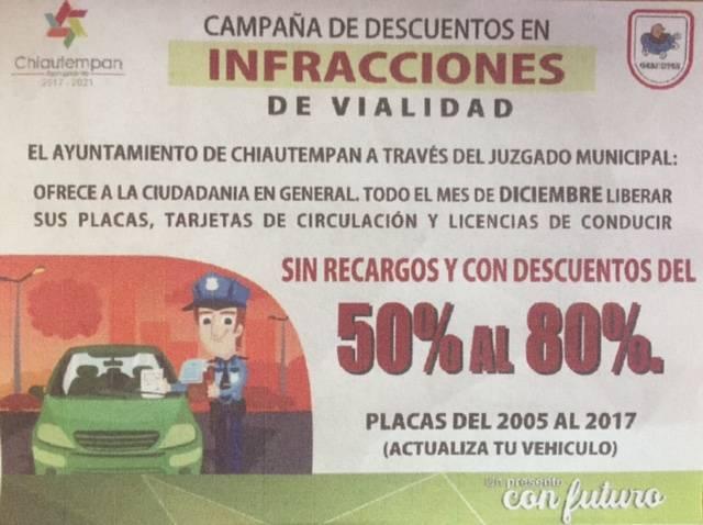 Juzgado Municipal de Chiautempan lanza campaña con descuentos en infracciones de vialidad