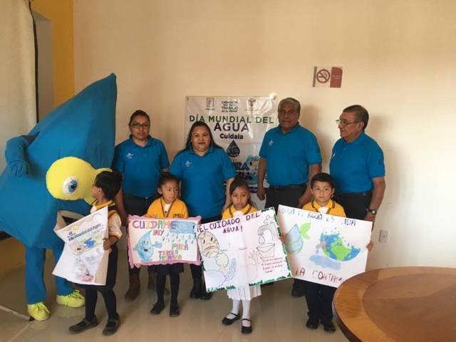 Reconocen dibujos de niñas y niños sobre cuidado del agua en Xicohtzinco