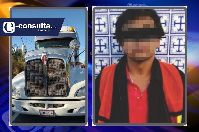Aseguran a una persona y recuperan tratocamión robado en Yauhquemehcan