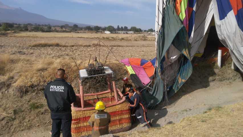Atiende PC de Huamantla caída de globo aerostático en comunidad de Cuauhtémoc
