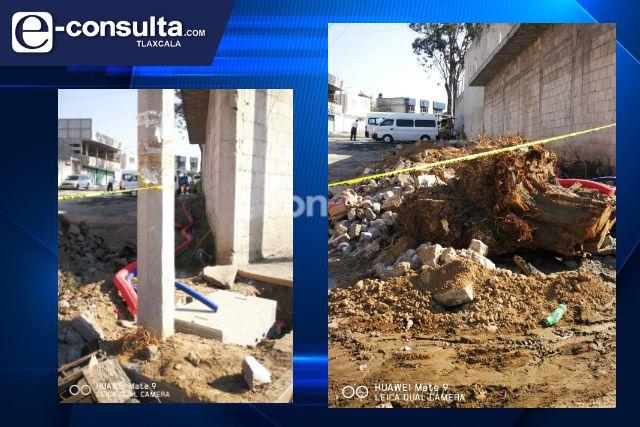 Se quejan vecinos de baja calidad de obra realizada en Tlaxcala