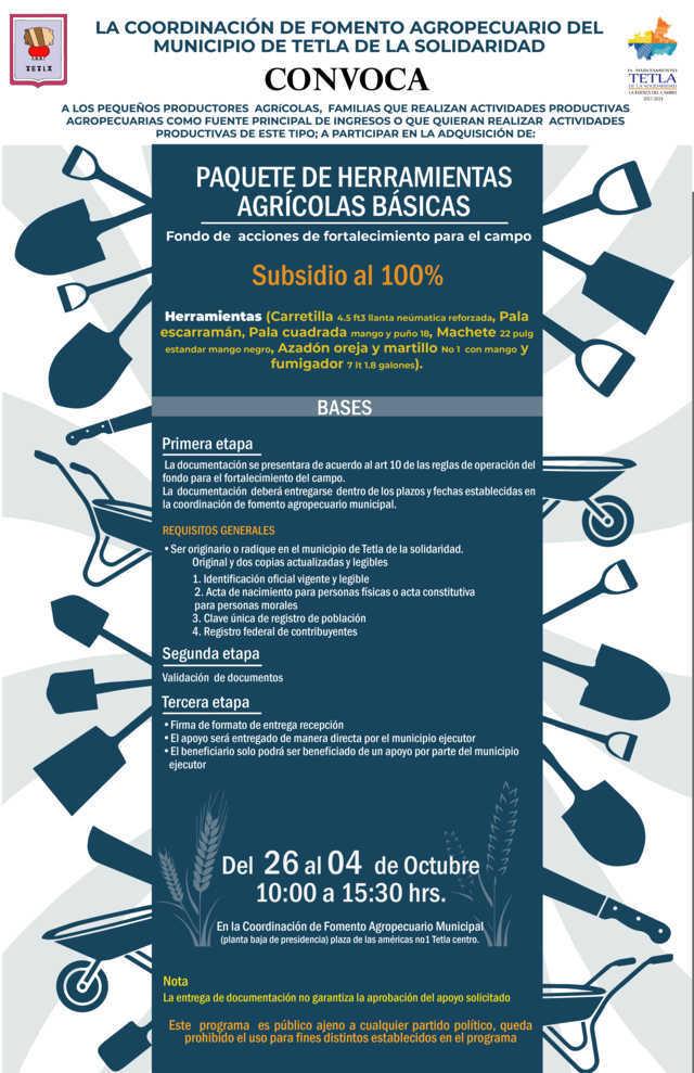 Ayuntamiento abre convocatoria para paquetes de herramienta agrícolas