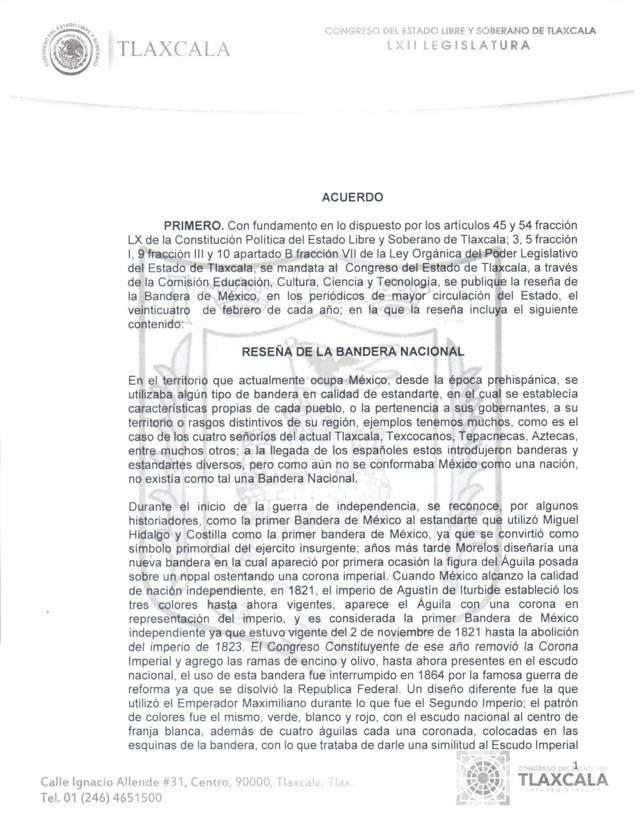 Publica el Congreso de Tlaxcala la reseña de la bandera nacional