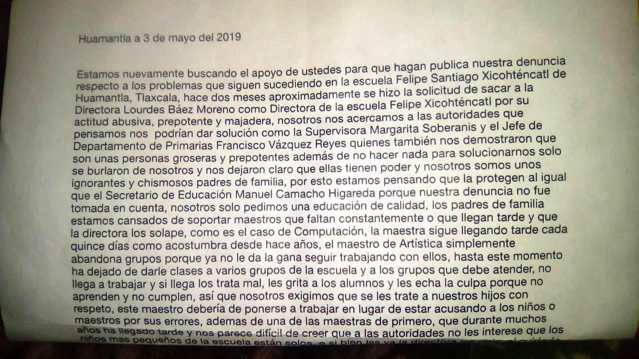 Ineptitud de autoridades educativas acusan padres de Huamantla