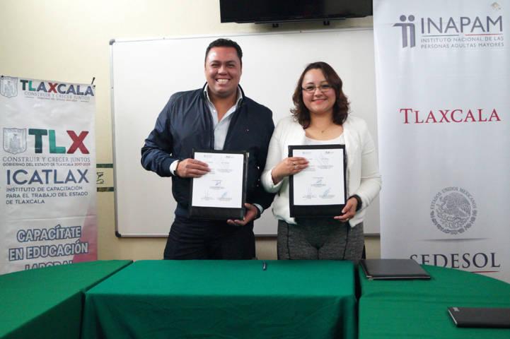 Signan ICATLAX e INAPAM convenio para beneficiar a adultos mayores