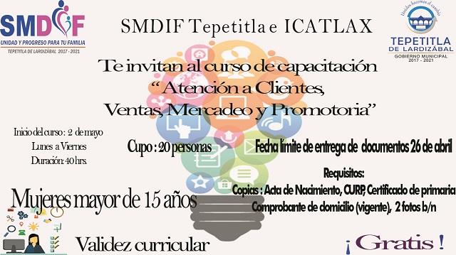 SMDIF Tepetitla e ICATLAX promueven cursos para mujeres del Municipio