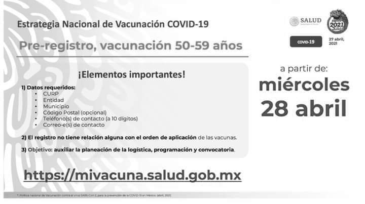 Vacunación Covid-19 para personas de 50 a 59 años