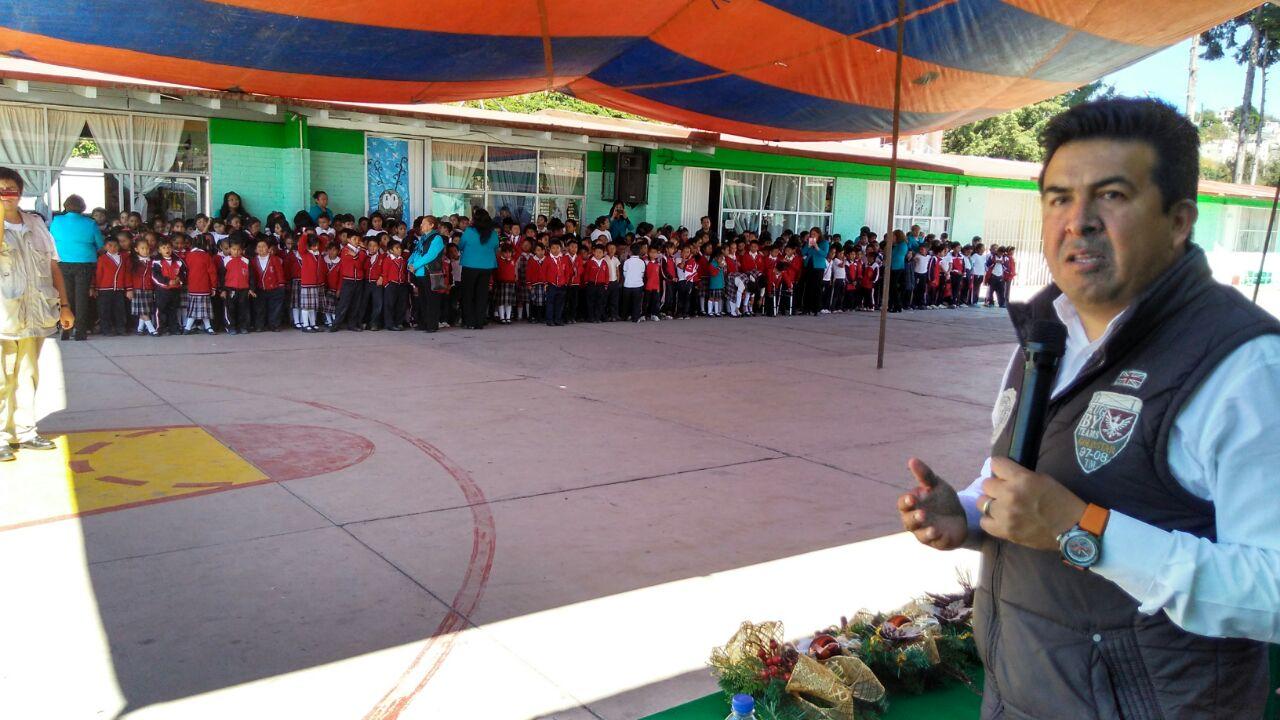 Pone en marcha Escobar Jardínez construcción de techumbre en la escuela primaria Emiliano Zapata