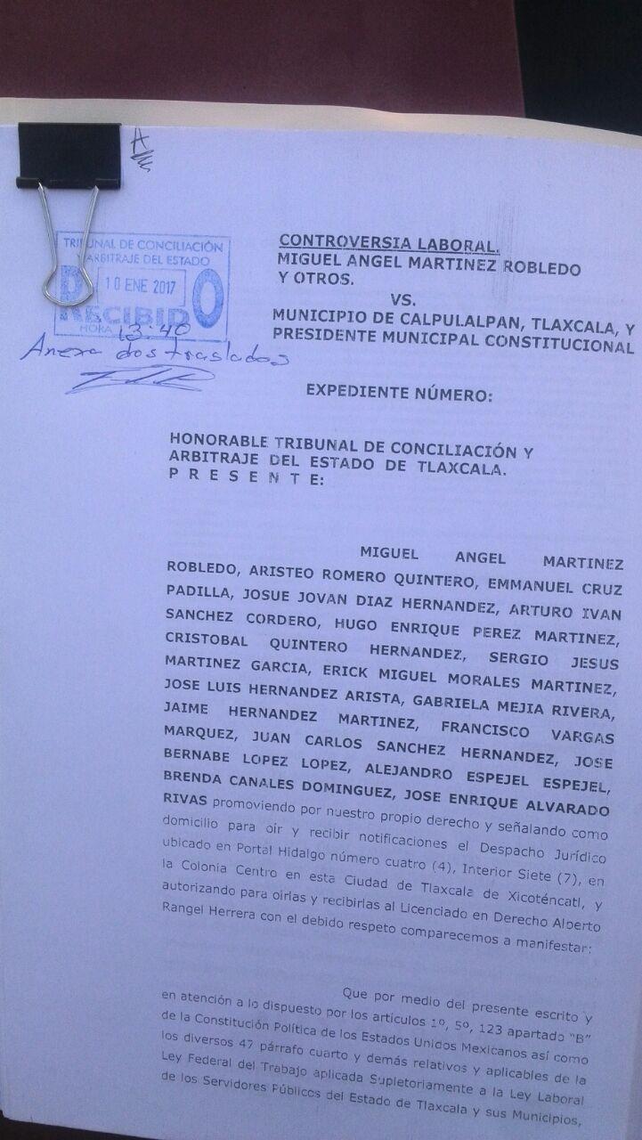Ex trabajadores de Calpulalpan demandan laboralmente a municipio