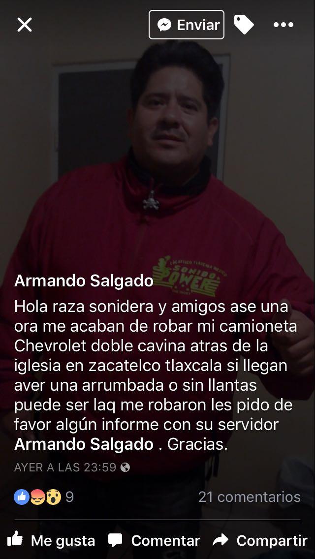 Nuevamente roban camioneta en Zacatelco