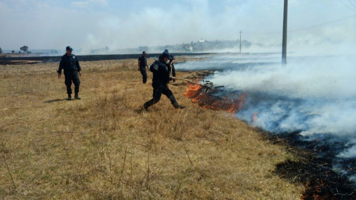 Policías Municipales apoyan a sofocar incendio en el Porvenir