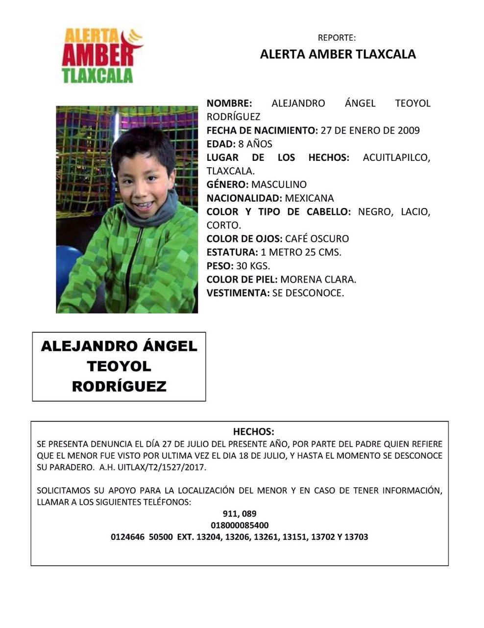 Desaparece niño de 8 años de edad en Acuitlapilco