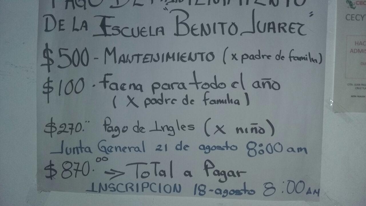 En Coaxomulco también rechazan las cuotas escolares