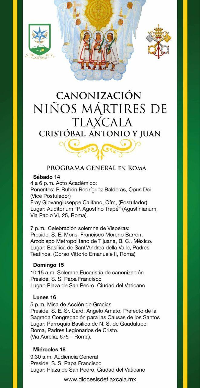 Este sábado canonizan a Niños Mártires de Tlaxcala en el Vaticano
