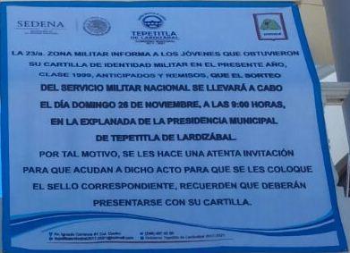 Sorteo Militar en Lardizábal se realizará el 26 de noviembre