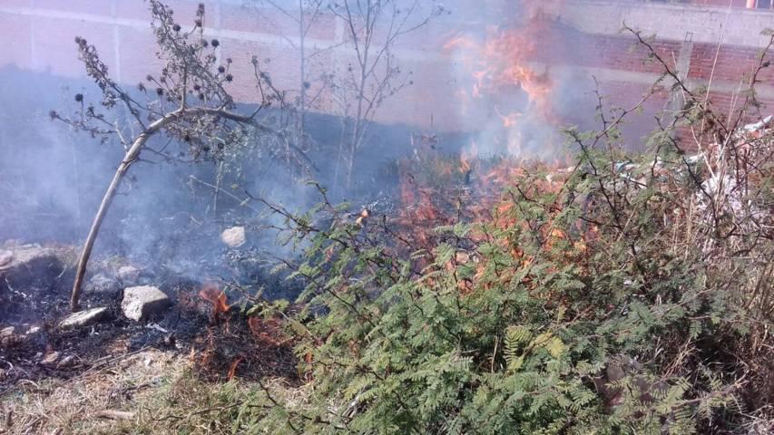 Niños prenden cuetes y se incendia predio en Ocotlán