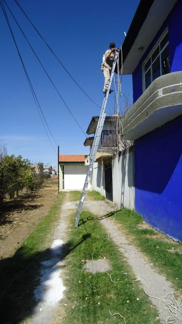 Continúa rehabilitación de alumbrado público en Papalotla
