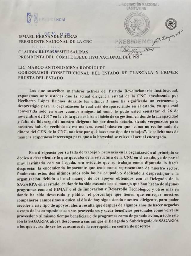 Miembros de la CNC piden que se vaya carnal de Beatriz Paredes
