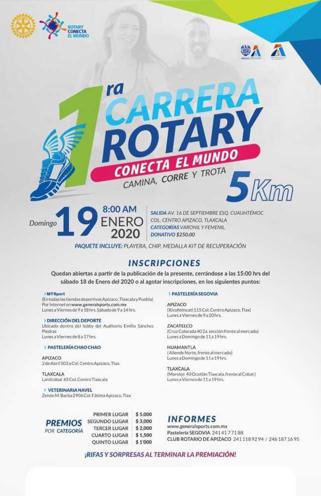 Rotary Apizaco te invita a inscribirte a su primer carrera de 5 km.