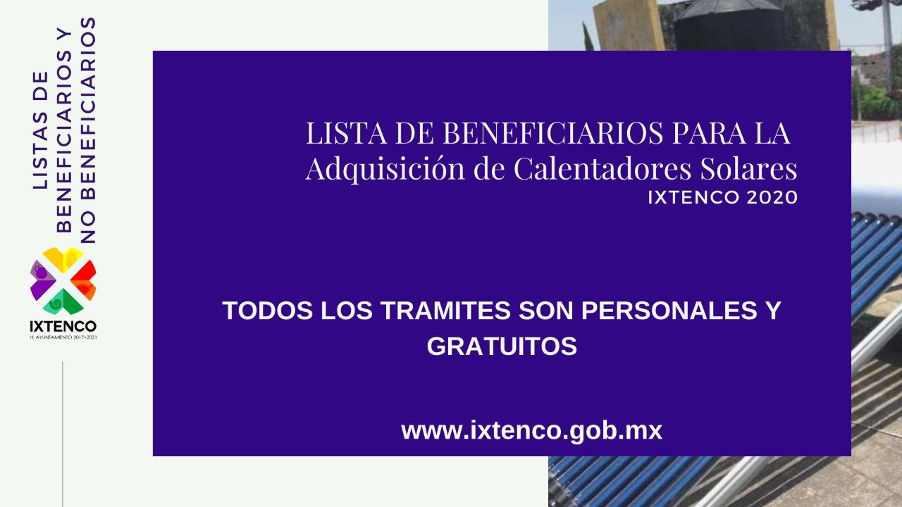 Pública Ayuntamiento de Ixtenco listas de beneficiarios del programa de Calentadores Solares 2020