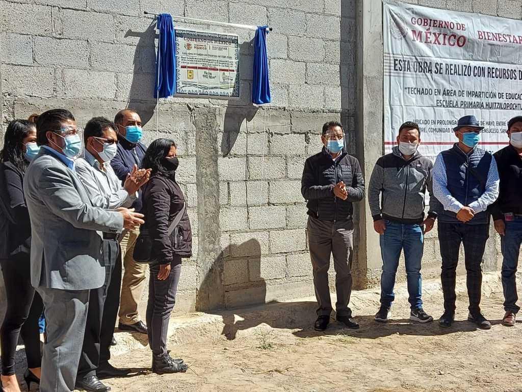 Alcalde de SPM inaugura techumbre de la escuela indígena Huitzilopochtli