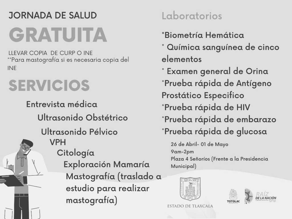 Totolac será beneficiado con servicios de salud gratuitos