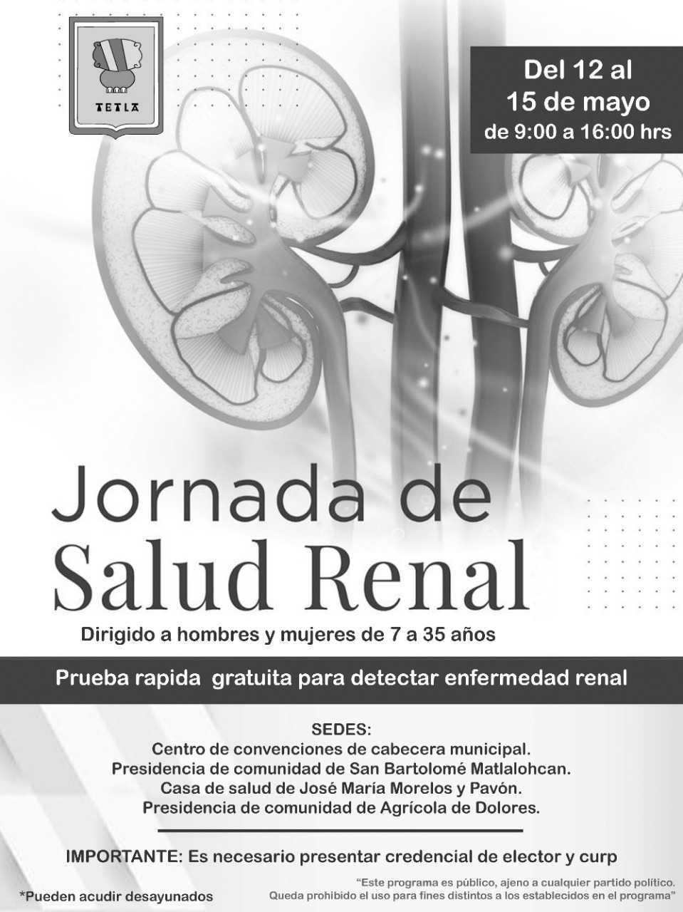 Jornada de Salud renal llega a Tetla de la Solidaridad