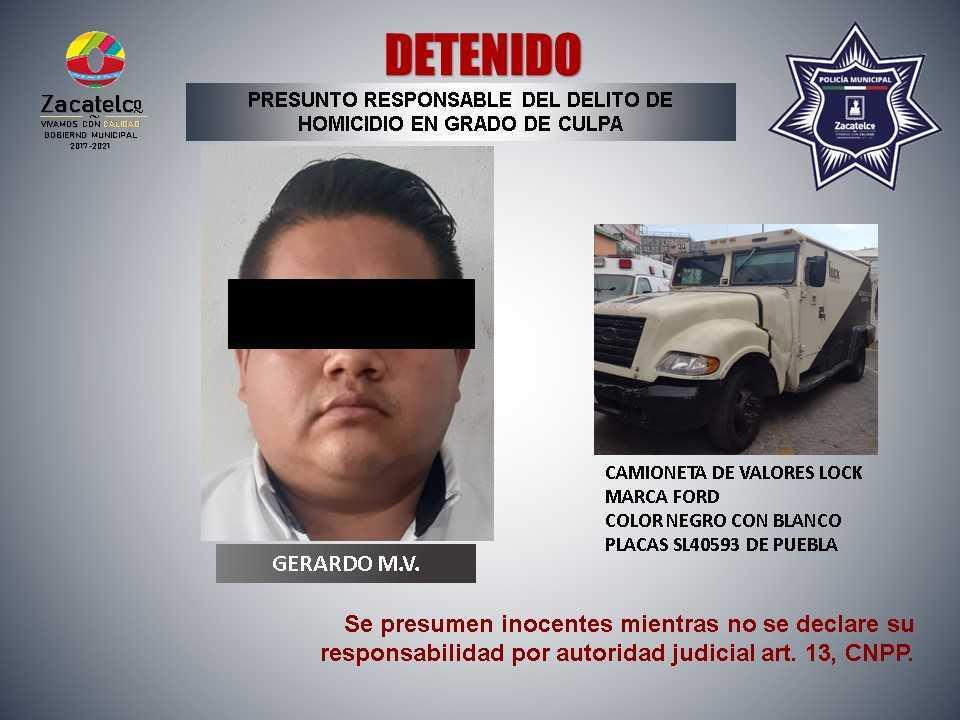 Detienen a hombre por presunto homicidio culposo en Zacatelco