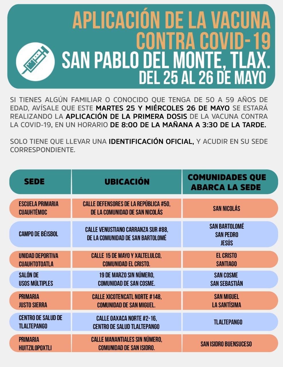Llega a San Pablo del Monte la vacuna contra el Covid para la población 50-59