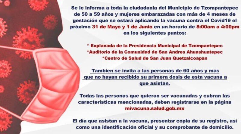 Mañana llegará a Tzompantepec la vacuna contra el Covid 50-59