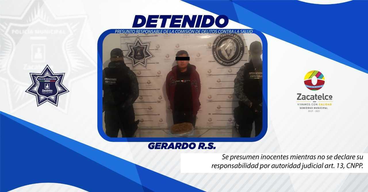 Detienen a sujeto por posesión de enervantes en Zacatelco