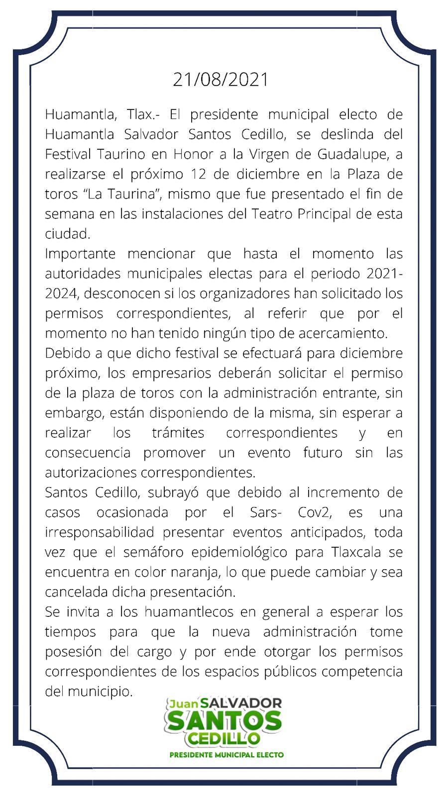 Se deslinda alcalde electo de Huamantla de Festival Taurino a realizarse el próximo12 de diciembre