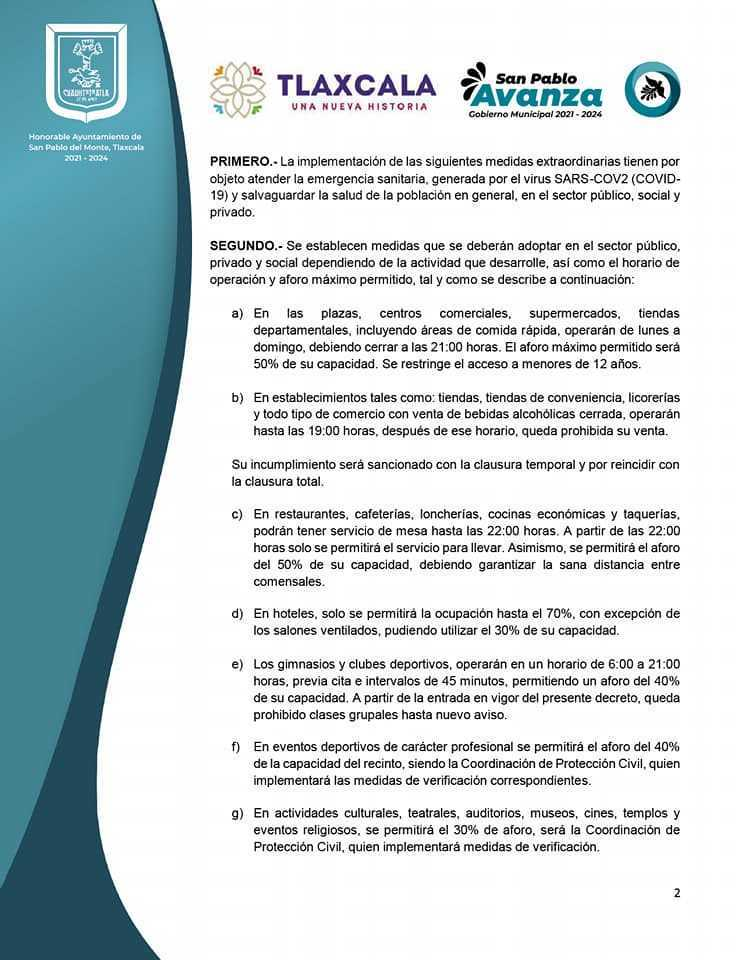 Alcalde de San Pablo del Monte pide respaldo para asumir medidas restrictivas