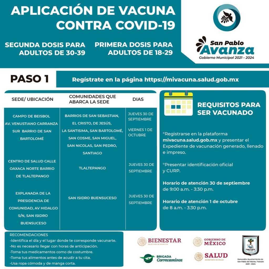 Llegará la vacuna para jóvenes de 18 a 29 años de edad en San Pablo del Monte
