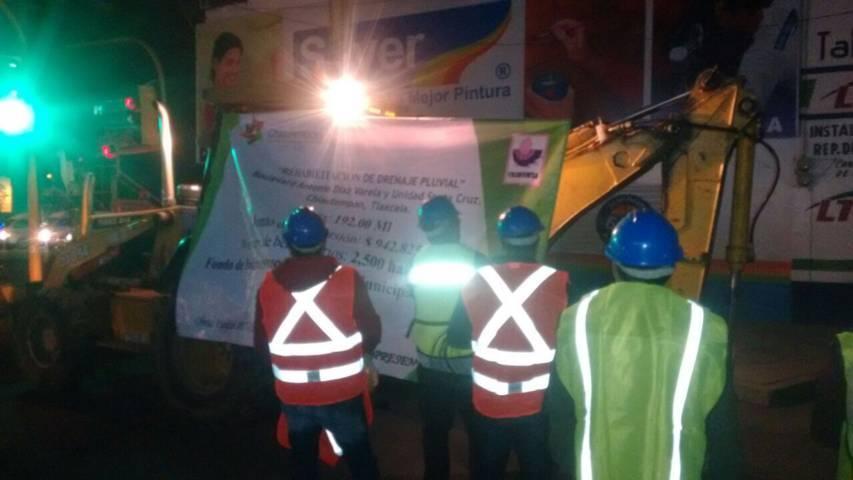 Inicia rehabilitación de drenaje pluvial en Chiautempan