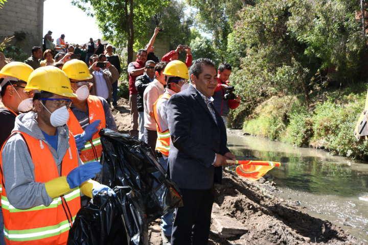 Inicia  Chiautempan trabajos de limpieza en Río de los Negros