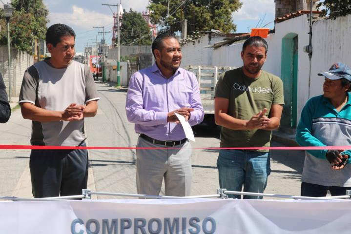Entrega Héctor Domínguez Rugerio obra de 177 metros lineales de drenaje en Ixcotla
