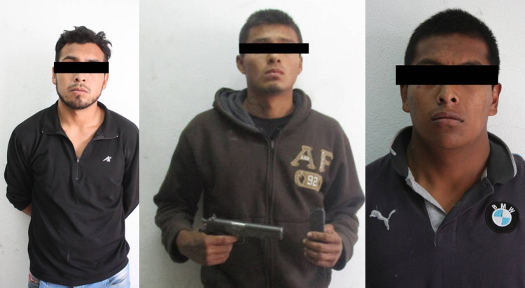 Con un arma de fuego detienen a 3 presuntos delincuentes