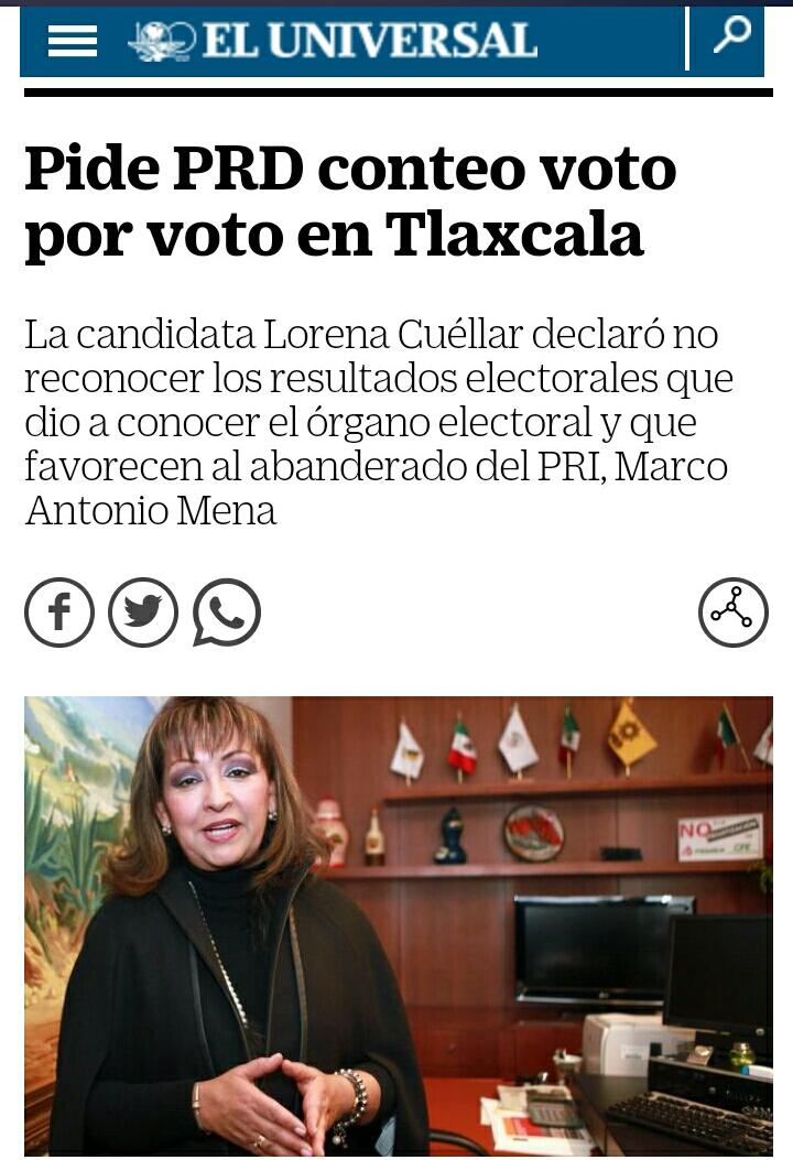 Voto por voto en Tlaxcala, dicen en el Universal