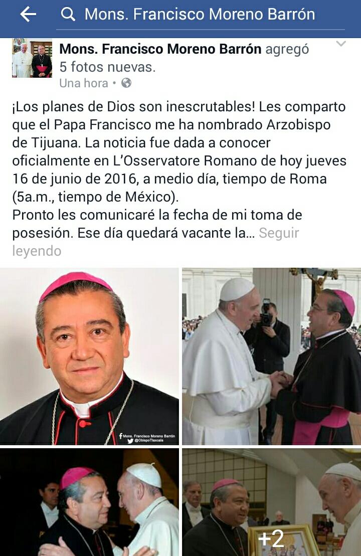 Nombran a Francisco Moreno Barrón arzobispo de Tijuana