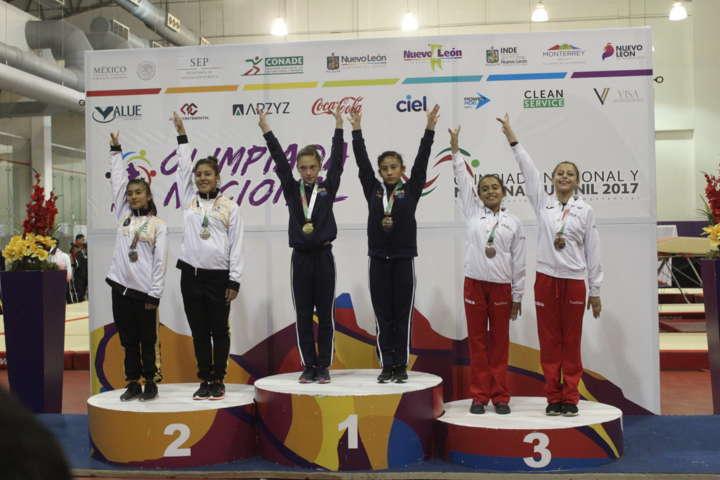 Logra gimnasia de trampolín plata y bronce en Olimpiada Nacional