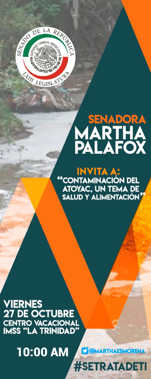 Anuncia Senadora Palafox reunión con sectores para sanear el Atoyac