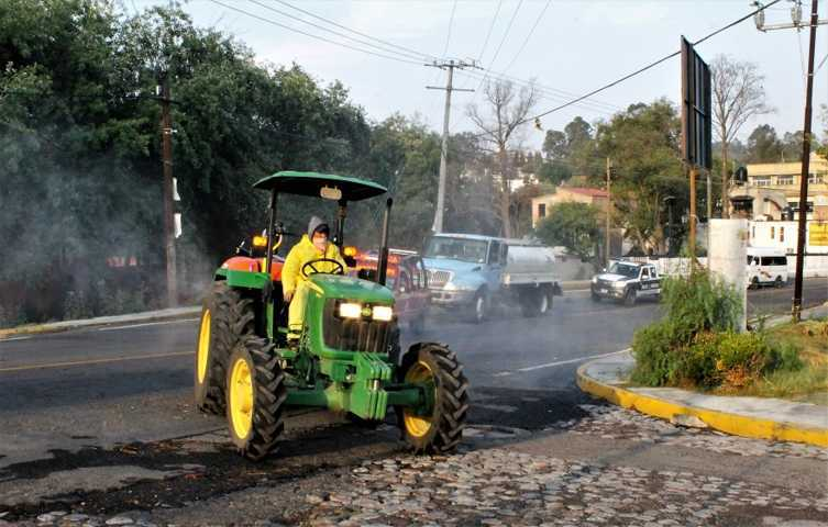 Realizan jornada de sanitización en espacios públicos de Yauhquemehcan