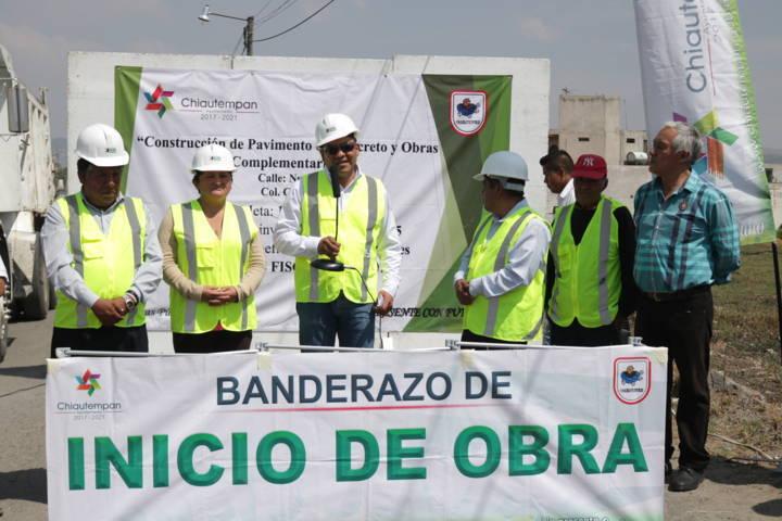 Con recurso propio realizan obras de pavimentacion en Chiautempan