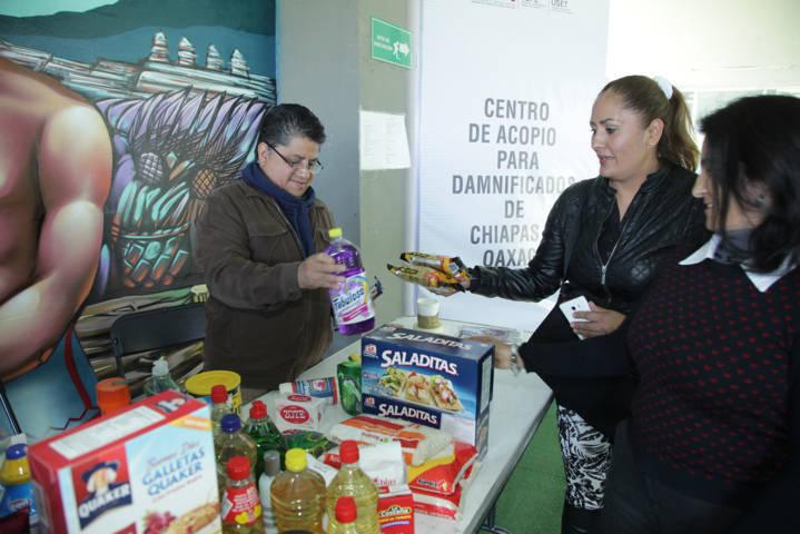 Se solidarizan trabajadores de SEPE-USET con damnificados por sismo